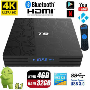 2019 T9 4K Android 8.1 TV Box Player Quad Core 4GB RAM 32GB Flash WIFI HDMI UK