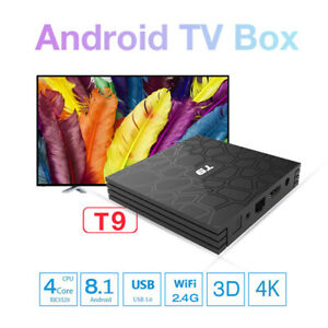 Andriod 9.0 Smart TV Box T9 4GB+32GB 4K HD RK3328 Quad Core 2.4G WIFI +Bluetooth