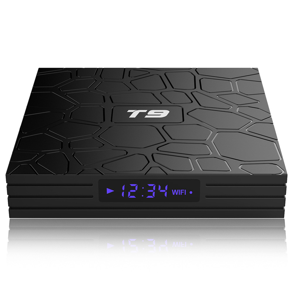 T9 RK3328 Android 8.1 4GB/64GB 4K TV Box with LED Display Dual Band WiFi Bluetooth LAN USB3.0 HDMI