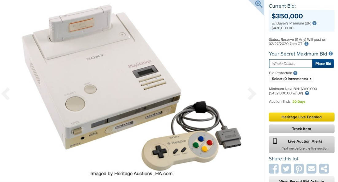 Nintendo Play Station auction