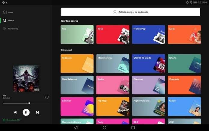 spotify app android tablet