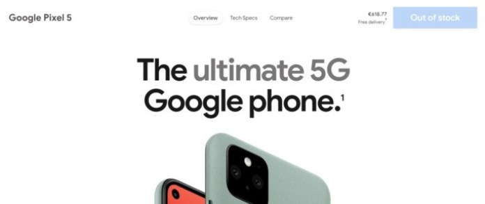 Google Pixel 5 sold out Europe