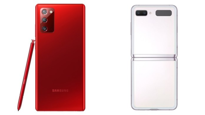 Samsung Galaxy Note 20 in Mystic Red and Samsung Galaxy Z Flip 5G in Mystic White