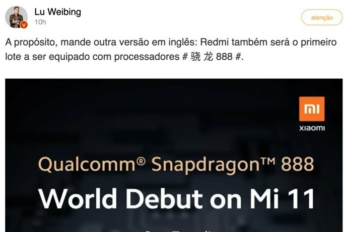 Lu Weibing confirmed Redmi with Snapdragon 888