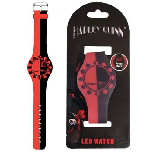 Harley Quinn Black Red Split LED Watch - Accutime - Batman ...