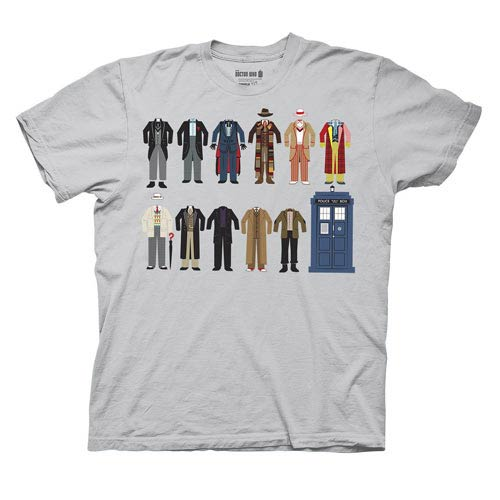 Doctor Who 12 Doctor Outfits Gray T-Shirt