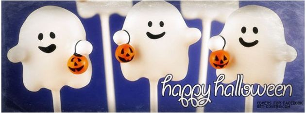 happy halloween ghost candies facebook cover