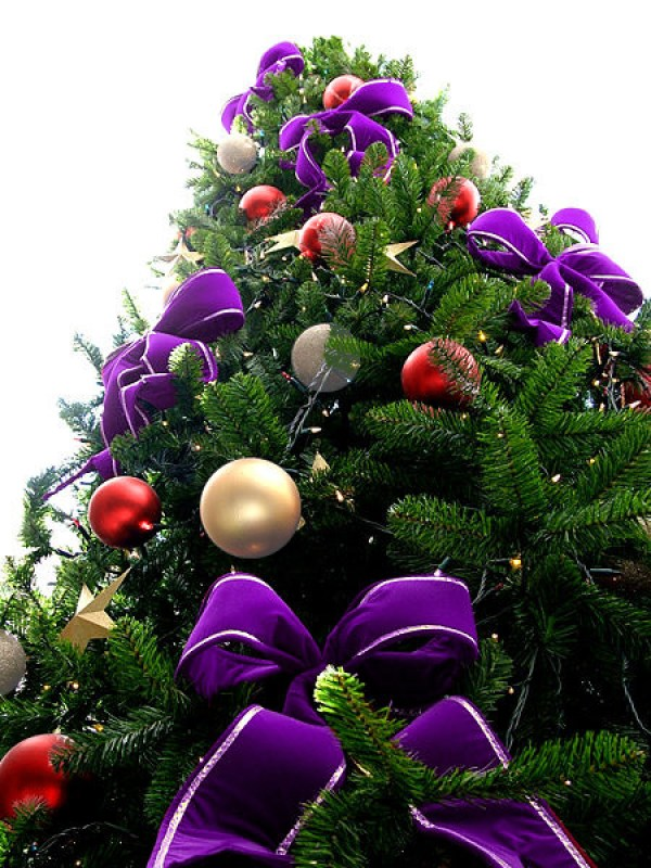 Violet Bead Christmas Tree with Red/Silver & White Ornaments