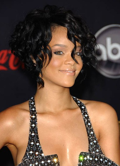 Rihanna Short Black Curly Hairstyle