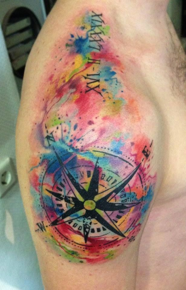 Watercolor Tattoo Compass