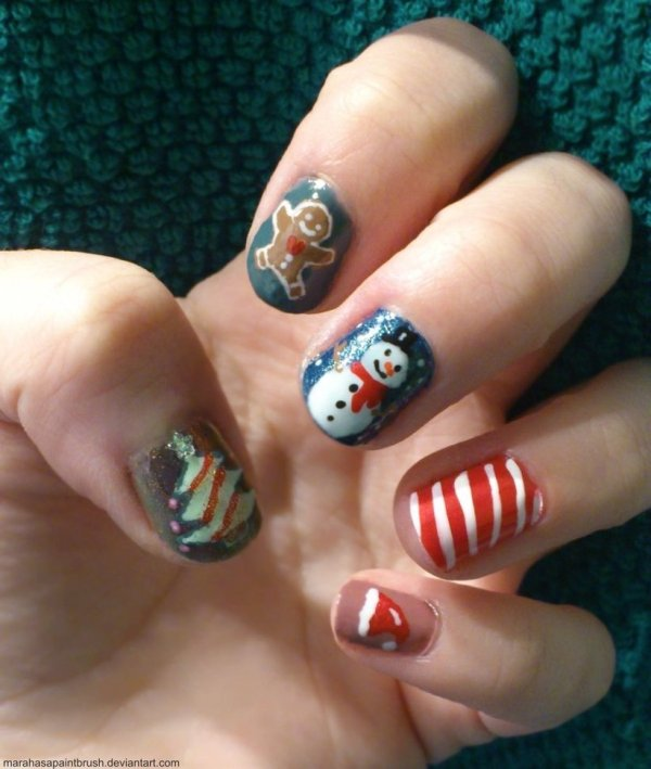 Merry Christmas nail art design