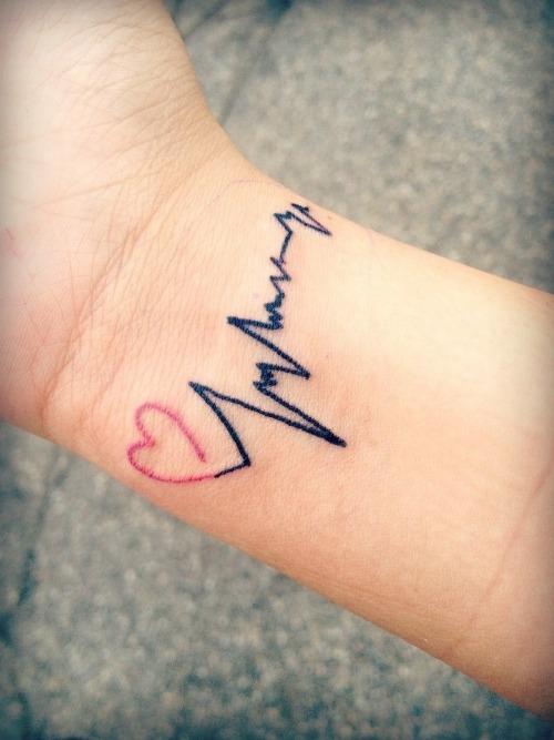 Heart Beat Wrist tattoo