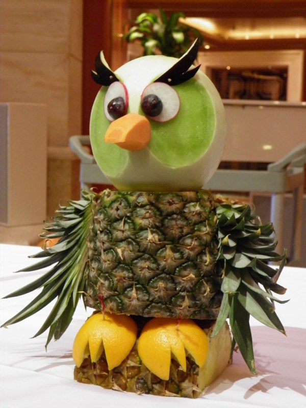 owl fruit carving