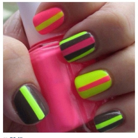 neon stripes nail art