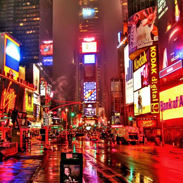 Times Square on a rainy night