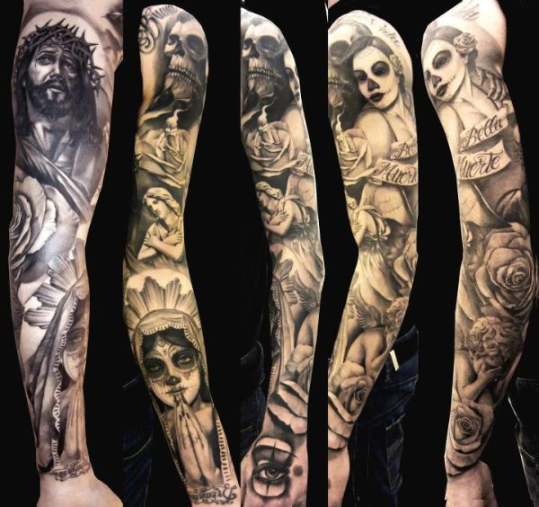 gothic sleeve tattoos ideas