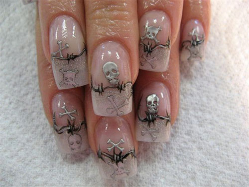 scary skulls halloween nail design