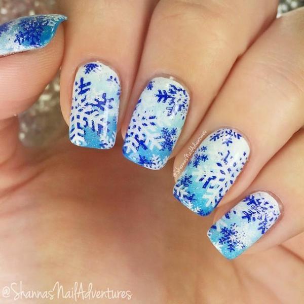winter mani nail art