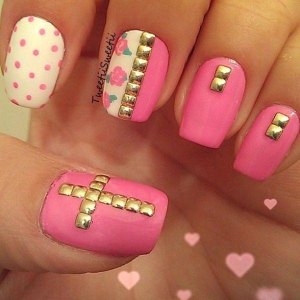 attractive cross nail design