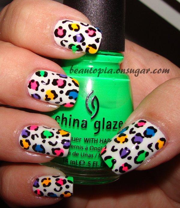 Leopard Neon Rainbow Nail Art