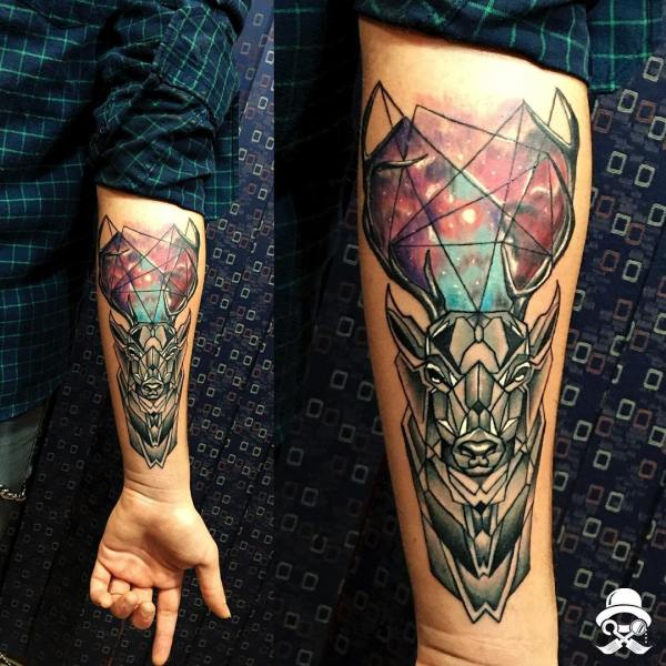 Cosmic Sleeve Robot-Deer Tattoo