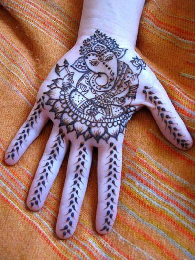 Hindi God Genish Mehndi Design on Hand