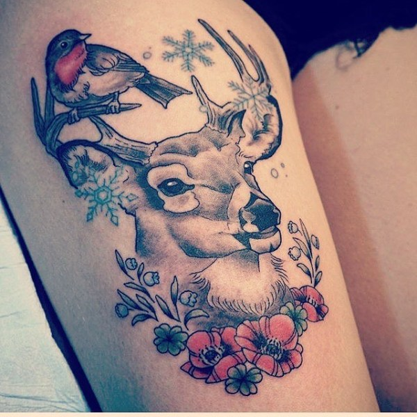 Winter Deer Tattoo Solution for Thigh
