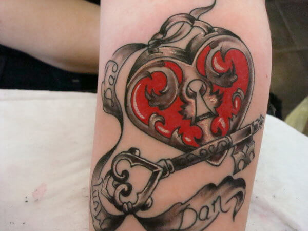 family heart locker key tattoo