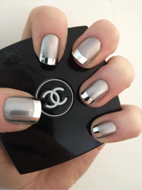 Matte and Shiny French Manicure