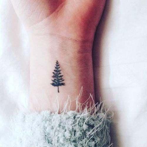 Minimal Small Pine Tree tattoo Symbol