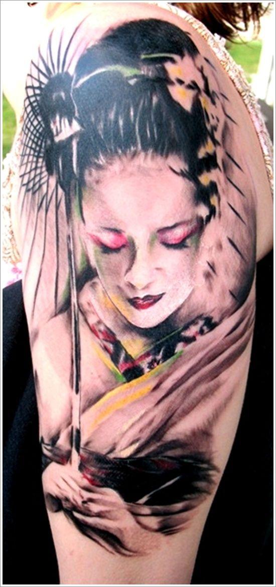 Peaceful tattoo portrait geisha on sleeve