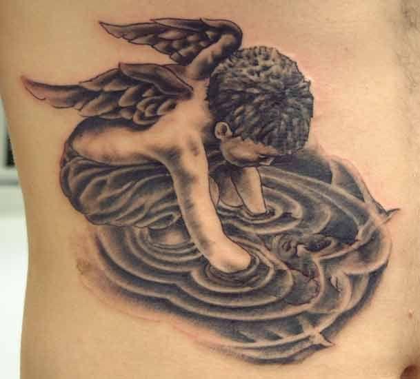Unique angel designing devil tattoo