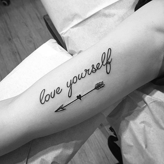 Wonderful cool motivational tattoo lettering Love Yourself