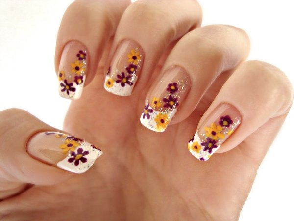 purple yellow spring flower nails