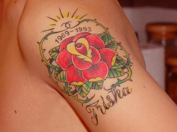 rip flower tattoo