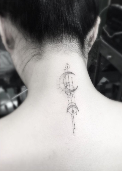 Geometric Neck Tattoo idea
