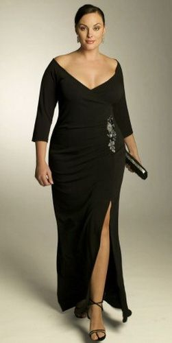 graceful and decent black deep neck prom dress for plus size ladies