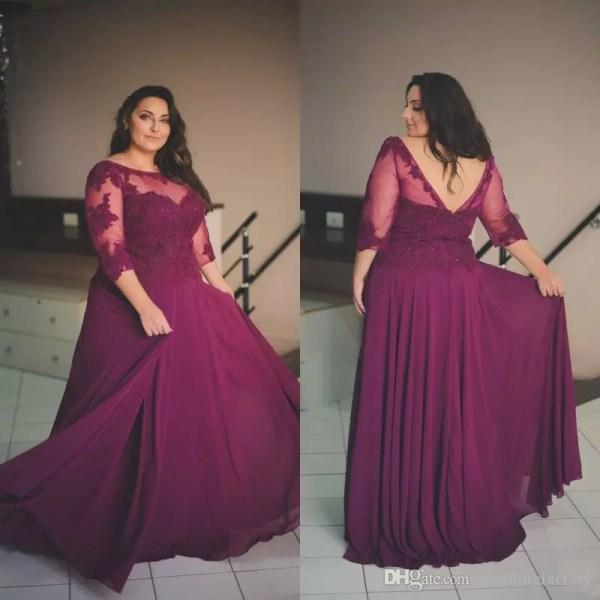 plum dress with lace blouse for plus size prom party collection