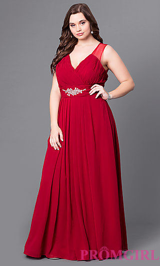 red plus size full length sleeveless gown with brooch on waist
