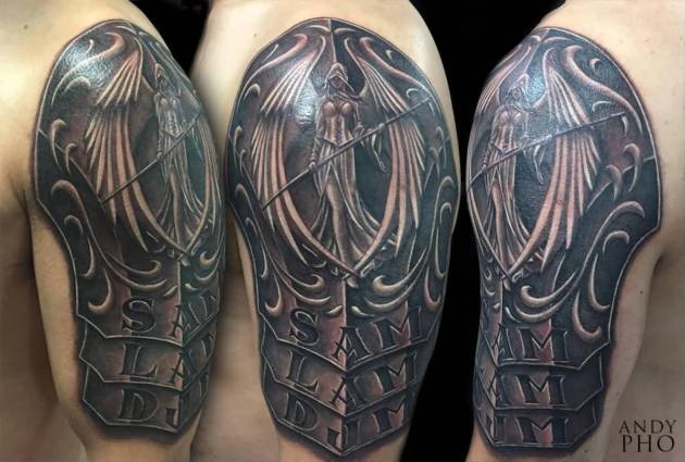 Angel Armor Tattoo On Shoulder