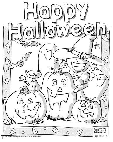 Free Printable Happy Halloween Coloring Page by Jen Goode
