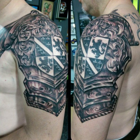 Shield Armor Tattoo On Shoulder For Men