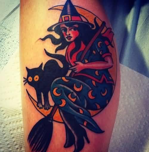 black cat witch in moon dress leg tattoo