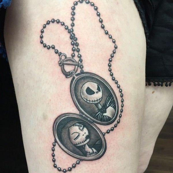 jack and sally locket tattoo