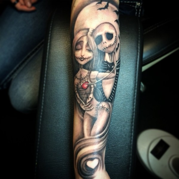 jack and sally love silhouette tattoo