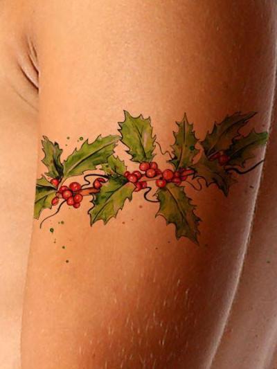 berry leafs band tattoo