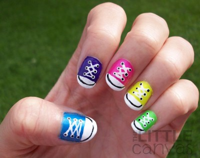 cool shoe with lace nail art