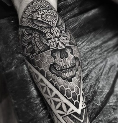 native american skull tattoo art