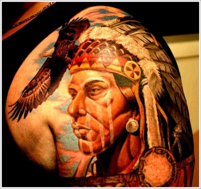 native american with eagle tattoo on shoulder