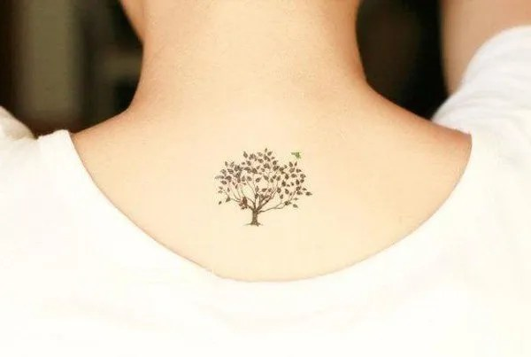 bodhi tree tattoo on back neck